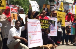 Maldives protest in Sri Lanka, calling on the Maldivian government to enforce the top court's ruling of Feb 1, 2018 to release political leaders.