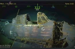 """The wreckage was found March 4, 2018 by the team's research vessel, the R/V Petrel, some 3,000 meters (two miles) below the surface more than 500 miles (800 kilometers) off the eastern coast of Australia. Remarkably preserved aircraft could be seen on the seabed bearing the five-pointed star insignia of the US Army Air Forces on their wings and fuselage. / AFP PHOTO / PAUL G. ALLEN / STR / == RESTRICTED TO EDITORIAL USE / MANDATORY CREDIT: """"AFP PHOTO / HO / COURTESY OF PAUL G. ALLEN"""" / NO MARKETING / NO ADVERTISING CAMPAIGNS / DISTRIBUTED AS A SERVICE TO CLIENTS =="""