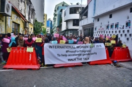 Participants of the oppositions woman's day gathering. PHOTO/HUSSAIN WAHEED/ MIHAARU