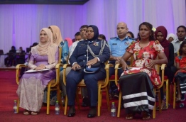 (L-R) - Aminath Waheedha, a nurse with 49 years of service, Fathmath Nashwa, a police inspector, and Zoona Naseem, a diver with numerous achievements, were conferred the Rehendhi Award in 2018. PHOTO: HUSSAIN WAHEED/MIHAARU