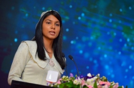 Minister of Gender and Family Zenysha Zaki speaking at the ceremony held on Internationals Women's Day on February 8, 2018. MIHAARU PHOTO / HUSSEN WAHEED
