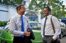 Lawyers Ali Hussain (L) and Hussain Shameem pictured outside the Supreme Court. PHOTO: NISHAN ALI/MIHAARU