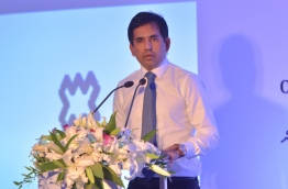 Economic minister Mohamed Saeed speaks at a function. FILE PHOTO/MIHAARU