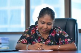 Lawyer Hisaan Hussain at her office in the capital Male at Hisaan, Riffath & Co. MIHAARU PHOTO / HUSSEN WAHEED