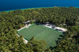 Aerial view of the football pitch in Amilla Fushi Resort in Baa Atoll. PHOTO/AMILLA FUSHI