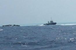 The vessels aground the reef near K. Fushidhiggaru in 2015 --