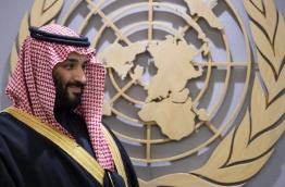 "A handout picture provided by the Saudi Royal Palace on March 27, 2018, shows Crown Prince Mohammed bin Salman meeting with the United Nations Secretary-General (unseen) at the United Nations headquarters in New York. / AFP PHOTO / Saudi Royal Palace / BANDAR AL-JALOUD / RESTRICTED TO EDITORIAL USE - MANDATORY CREDIT ""AFP PHOTO / SAUDI ROYAL PALACE / BANDAR AL-JALOUD"" - NO MARKETING - NO ADVERTISING CAMPAIGNS - DISTRIBUTED AS A SERVICE TO CLIENTS"