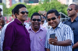 Right - Left: President Yameen Abdul Gayoom, PPM PG deputy leader Jameel Usman, PPM PG leader Nihan Ahmed / FILE PHOTO: MIHAARU