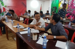 Kendhoo MP Hussein Ali (L) and former sports minister Maleeh Jamal (R) at the Jumhoory Party meeting on April 1, 2018 to discuss the party's manifesto for the upcoming presidential election slated for September 2018. PHOTO / JP