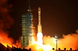 A defunct Chinese space lab plunged through Earth's atmosphere on April 2, 2018, breaking apart as it headed towards a watery grave in the South Pacific, Beijing said. / AFP PHOTO / - / China OUT