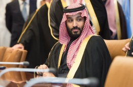 Prince Mohammed bin Salman Al Saud, Crown Prince, Kingdom of Saudi Arabia, attends a meeting with the United Nations Secretary-General Antonio Guterres (out of frame) at the United Nations on March 27, 2018 in New York. / AFP PHOTO / Bryan R. Smith