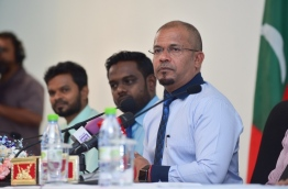 Elections Commissioner Ahmed Shareef at a press conference / MIHAARU PHOTO