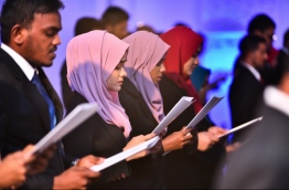 Lawyers taking their oath at the ceremony held in Dharubaaruge on April 8, 2018. MIHAARU PHOTO / HUSSEN WAHEED
