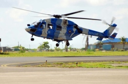 A naval helicopter operated by the Indian military in the Maldives. PHOTO/MIHAARU