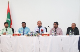 Members of the Elections Commission speaking at a press conference held April 12, 2018. MIHAARU PHOTO / HUSSEN WAHEED