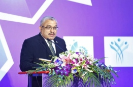 Vice President Abdullah Jihad speaking giving the inaugural speech at the Civil Service Conference 2018, held at Dharubaaruge, Male on April 14, 2018 / MIHAARU PHOTO