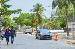 The area near the Male-Hulhumale Bridge that is being devloped: the Ministry of Housing and Infrastructure is widening the roads close to the bridge for better traffic flow and to avoid congestion. / MIHAARU PHOTO