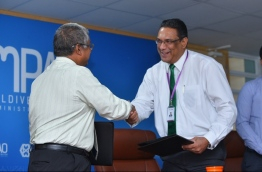 During the ceremony held to sign the agreement between CMB and Pension Office. PHOTO/HUSSAIN WAHEED/MIHAARU