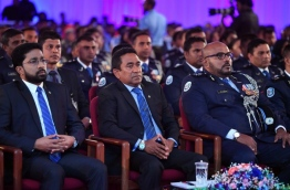 President Yameen at the ceremony held on the occasion of the 85th of anniversary of the Police Institution. PHOTO/PRESIDENTS OFFICE