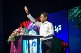 President Abdulla Yameen speaks at a ceremony. FILE PHOTO/MIHAARU