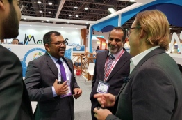 Minister of Tourism Moosa Zameer at the Arabian Travel Market held in Dubai on April 22, 2018. Over 128 local individuals from 68 companies are representing Maldives at the event. PHOTO / MINISTRY OF TOURISM