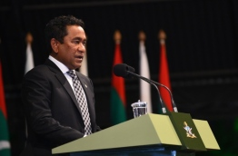 President Abdulla Yameen speaks at ceremony to celebrate 126th anniversary of MNDF. PHOTO: HUSSAIN WAHEED/MIHAARU