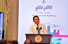 """President Yameen Abdul Gayoom during his speech at the launch of """"Ravvehi Tharahgee""""."""