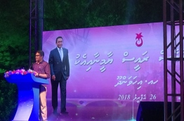 Progressive Party of Maldives (PPM) parliamentary group leader and Villimale MP Ahmed Nihan speaking at a campaign rally held at H. Dh. Ihavandhoo on April 26, 2018 --