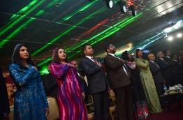 President Abdulla Yameen's cabinet ministers at an event --- MIHAARU PHOTO / HUSSEN WAHEED
