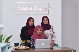 From Left: Zuneena Habeeb, Hawwa Lisha and Aminath Asifa. The three women founded the Women's Centre in the capital Male. MIHAARU PHOTO / HUSSEN WAHEED