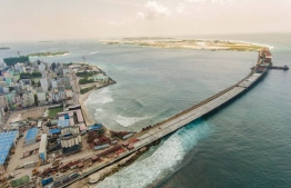 Aerial view of the China-Maldives Friendship Bridge being developed between Male and Hulhule. PHOTO/HOUSING MINISTRY