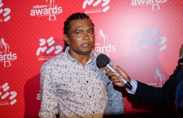 Paradise Island Resort, May 5, 2018: Ali Suzain, former footballer and current head coach of Club Green Streets, speaks to reporters on the red carpet of Mihaaru Awards. PHOTO/IMAGES.MV