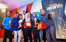 Paradise Island Resort, May 5, 2018: Some winners of the Mihaaru Awards take a selfie together. PHOTO/IMAGES.MV