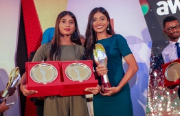 Paradise Island Resort, May 5, 2018: Badminton players and twins, Fathimath Nabaaha Abdul Razzaq (R) who won Best Individual Sports Player, and Aminath Nabeeha Abdul Razzaq, who won Most Promising Individual Sports Player and third place in Individual Sports. PHOTO/IMAGES.MV