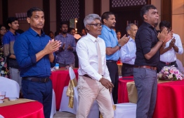 "Paradise Island Resort, May 5, 2018: Ahmed ""Bodu Heena"" Saleem heads to the stage to receive the Lifetime Achievement ""Mohamed Zahir Naseer Award"", for his longstanding contributions to the fields of football, badminton and athletics. PHOTO/IMAGES.MV"