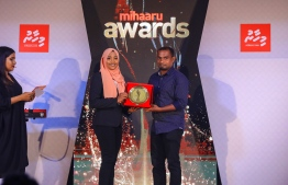 Paradise Island Resort, May 5, 2018: Aminath Areesha (L) won third place in women's Volleyball. PHOTO/IMAGES.MV
