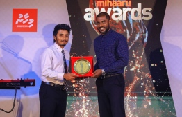 Paradise Island Resort, May 5, 2018: Mohamed Mimrah Hassan (L) won Most Promising Volleyball Player. The award was presented by the former legendary goalkeeper of the Maldives National Football Team, Imran Mohamed. PHOTO/IMAGES.MV