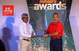 "Paradise Island Resort, May 5, 2018: Ahmed ""Bodu Heena"" Saleem was conferred the Lifetime Achievement ""Mohamed Zahir Naseer Award"" for his longstanding contributions to the fields of football, badminton and athletics. The award was presented by Mohamed Nashid, the nephew of the late Mohamed Zahir Naseer who had served in the Maldivian sports industry for over 50 years. PHOTO/IMAGES.MV"