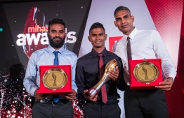 "Paradise Island Resort, May 5, 2018: Football legend Ali ""Dhagandey"" Ashfaq (L), local record-breaking runner Ahmed Saaid (C). and volleyballer Ahmed ""Longey"" Abdul Kareem who won second place in Volleyball, pose for a picture. PHOTO/IMAGES.MV"