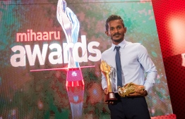 "Paradise Island Resort, May 5, 2018: Footballer Ali ""Sentey"" Fasir received the ""Golden Boot"", which is awarded to the top scorer of the season. PHOTO/IMAGES.MV"