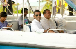 Former President Mohamed Nasheed pictured with the Hithadhoo-North MP Ahmed Aslam during the presidential election campaign in 2013. PHOTO/SOCIAL MEDIA