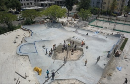 Hulhumale: Volunteers work to build the new Hulhumale Skatepark. PHOTO: MOHAMED AHSAN/RED BULL