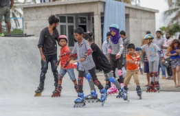 Hulhumale, May 4, 2018: Children roller skate at the soft opening of Hulhumale Skatepark. PHOTO: MOHAMED AHSAN/RED BULL