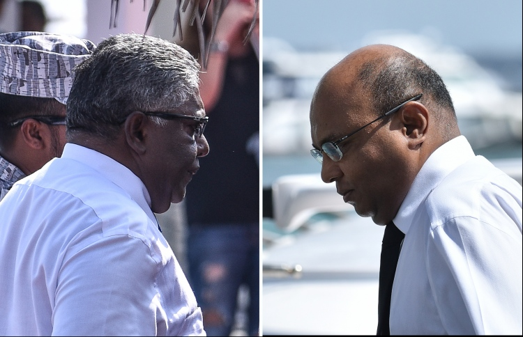 Former Chief Justice Abdulla Saeed (L) and former Judge Ali Hameed of the Supreme Court. IMAGE/MIHAARU
