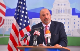 US Ambassador to Maldives, Atul Keshap, speaks at opening of American Centre. PHOTO/MIHAARU