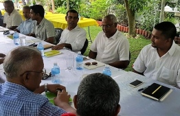 Former President Mohamed Nasheed (C) pictured with senior officials of MDP at a party meeting held in Sri Lanka.