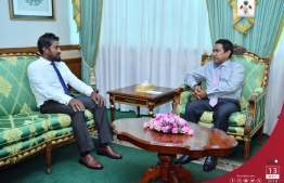 President Yameen meeting with Cricket Board's President Aflah. PHOTO/PRESIDENTS OFFICE