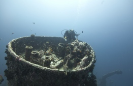 A diver during an excursion to the wreck of MV Victory. PHOTO: MOHAMED SEENEEN