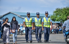 Male City, May 16, 2018: Police officers on duty near the local market, on the first day of the Islamic holy month of Ramadan. PHOTO: NISHAN ALI/MIHAARU