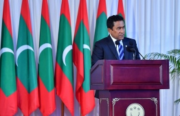 President Abdulla Yameen speaks during a function. PHOTO/PRESIDENT'S OFFICE